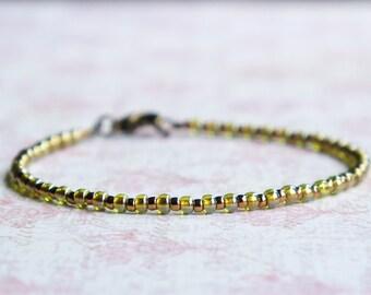 Green And Bronze Bracelet, Seed Bead Bracelet, Stacking Bracelet, Simple Bracelet, Beaded Bracelet, Minimalist Bracelet, Dainty Bracelet