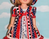 """14.5"""" Doll (Like Wellie Wisher) Patriotic Stars & Stripes Pinafore, Dress and Blue Felt Hat"""