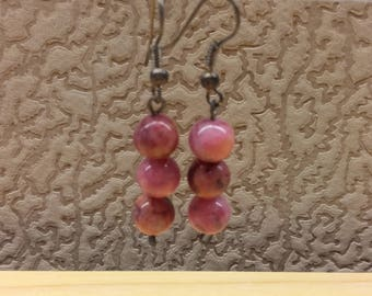 Vintage Handmade Pink & Purple Agate Gemstone Round Beaded Earrings