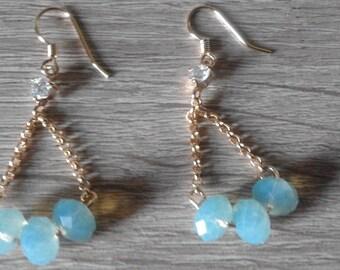 Elegant Vintage Women Long Earrings Facet Sky Blue Crystal Stone Brass Gold Plated Charming Design