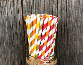 100 Fall Theme Paper Drinking Straws in Red, Yellow, Brown and Orange Stripe, Harvest Party Supply, Thanksgiving Paper Goods, Fall Theme