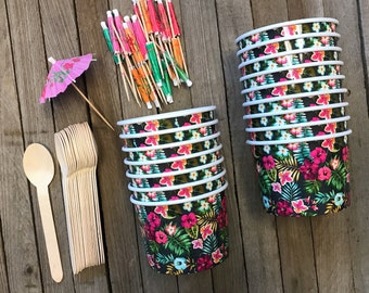 Ice Cream Sundae Kit with 12 Ounce Floral Paper Cups, Wooden Spoons and Banner Picks- Luau Party Supply- Dessert Cups- 16 Each