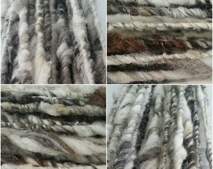 Handcrafted Natural Jacob Art Yarn Skein Number Two 489g, 73m