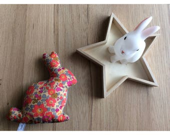 Bunny in liberty Betsy neon tea and blue quilted