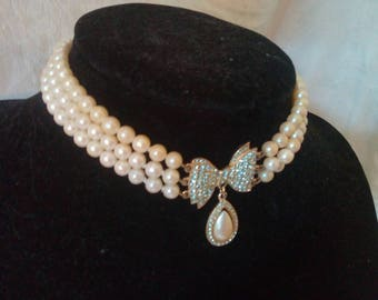 Cream faux pearl and diamonte rhinestone choker vintage necklace 1950s