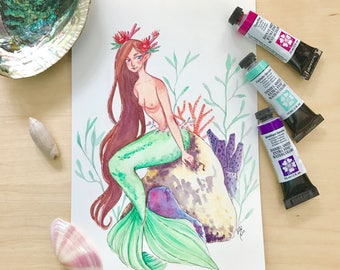 Mermaid with Corals - Watercolor Illustration Print