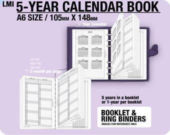 A6 5-year Calendar Book / 2018 2019 2020 2021 2022 - Inserts Refills Filofax Binder Collins