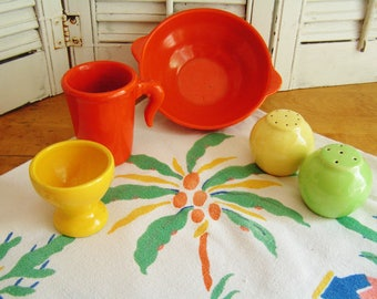 VINTAGE Colorful 40s Pottery Items 5 Pieces Orange Yellow Green Bowl Salt Pepper Mug Egg Cup