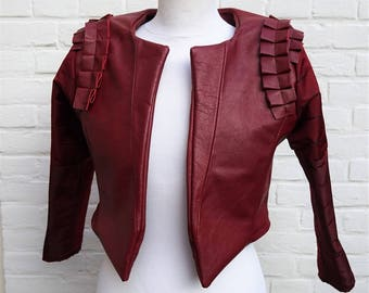 Rock Chic Edgy Crop Red Leather Jacket   size S  Leather Art  Hand Made