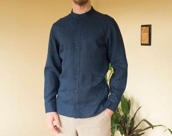 Navy blue color linen classic handmade men's shirt