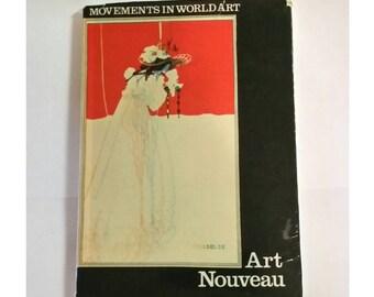 Rare Vintage ART NOUVEAU MOVEMENT Book 60s Art History Reference Artist Gift Ephemera HardCover Isolde Klimt the Kiss Illustrated Art Plates