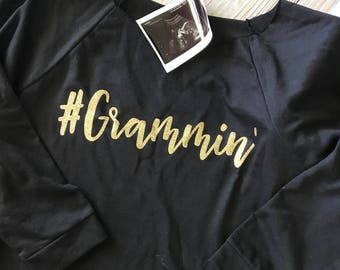 Grammin' sweatshirt black 3/4 sleeve glitter gold slouchy runs small order up