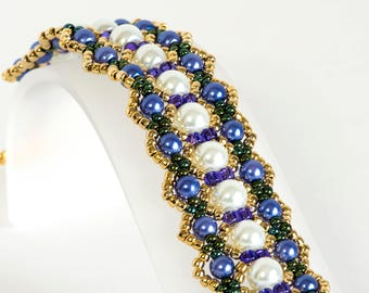 Pearl Bracelet - Seed Bead Bracelet in White and Violet Glass Pearls, Seed Beads in Purple, Green Iris and Gold - Beadwoven Bracelet