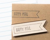 Rubber stamp happy mail, text stamp, postal stamp, DIY craft supplies, stationery, snailmail ideas, packaging ideas, postage stamps