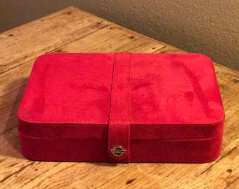 vintage red jewelry box case