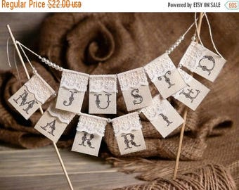 8% OFF Lace Just Married Wedding Cake Topper Banner with pearls