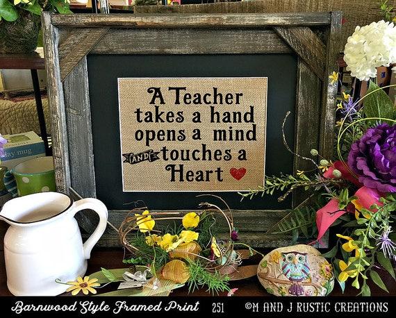 Framed Teacher Gift | Teacher Christmas Gift | Teacher End of Year Gift | Personalized Teacher Gift | Burlap Print | 251