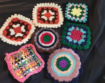 Vintage potholder lot , crochet, woven , granny square style
