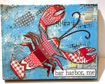 Lobster Sign, Mixed Media Lobster, Beach Decor, Coastal, Lobster Art, Maine, Maine Lobster
