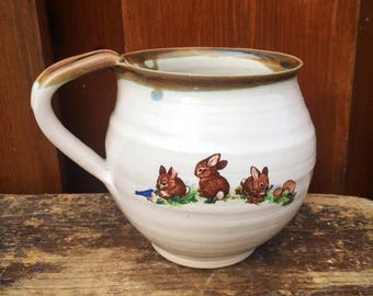 Ceramic pottery mug  stoneware with bunnies