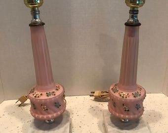 Vintage  1950's Hand Painted Pair of Pink Glass Lamps With Marble Bases