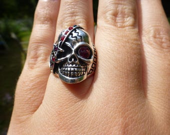 Vintage Bold Skull Ring, Silver Plated With Red and Blue Stones, So Unique and Striking, Memento Mori, Size 8