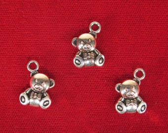 "10pc ""bear"" charms in antique silver (BC1311)"