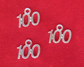 "10pc ""number 100"" charms in silver style (BC1071)"