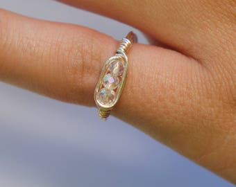 Custom Three Crystal Bead Wire Wrapped Ring - wire wrapped jewelry wire ring custom ring wire wrapping