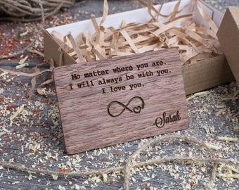 Wood Wallet Insert Card, Walnut Custom Engraved Insert card, Personalized Wooden infinity love insert card, boyfriend gift, wood wedding tag