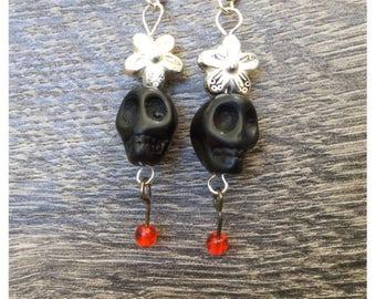 Day of the Dead Black Skull Earrings