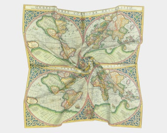 Ornate World Map Scarf - antique map print -  map women' s apparel scarf, pocket square, neckerchief, cartography, ancient, beautiful