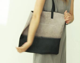 Ombré leather Bag, Soft leather tote, gradient bag, leather tote, Women leather handbag, market bag, everyday bag, work bag, office bag