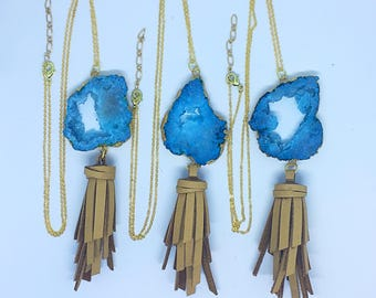 Sky Blue Geode Tan Leather Tassel Necklace, Gemstone Necklace, Rectangle Geode Necklace, Leather Necklace, Great for Spring, Free Shipping