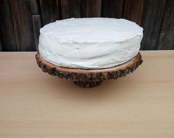"""Wood cake stand 13-14"""" slice of center piece of rustic tree cake tree cake of wooden slice of wood"""