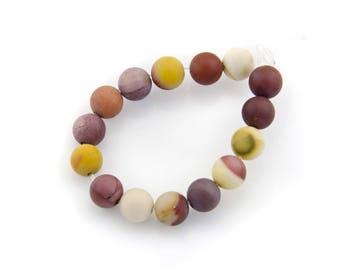 5 mineral beads, mat, round moukaite beads 6 mm, 5 pieces