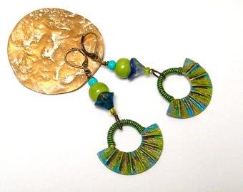 Bohemian earrings, boho chic, blue/green, bronze, brass, glass, lucite, bone
