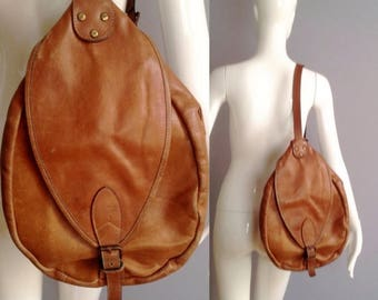 SALE 25% Off Vintage 80s Brown Leather  BackPack ~ Cute Flap Front Distressed Ruck Sack ~ Mini Zipper Tote Bag ~ Festival Sling Purse