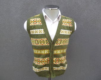 Vintage Shetland Wool Knit Sweater Vest / Shetland Wool Sleeveless Cardigan 40 Medium / Wool Knitted Sweater / Vintage Mens Sweatshirt / VTG