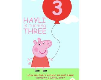 Peppa Pig Party Invitation