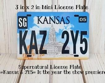 Supernatural Mini License Plate | 2 inch x 3 inch Aluminum Mini License Plate | KAZ 2Y5 | Dean's Impala License Plate | The Winchesters