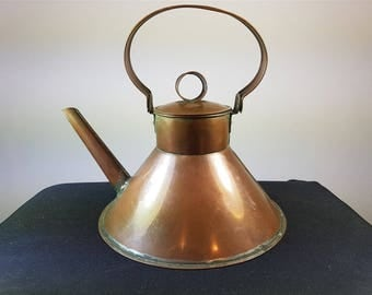 Antique Copper Metal Ships Kettle or Teapot Original 1800's Primitive