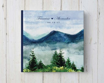 Mountain Guest Book, Mountain Wedding, Rustic Wedding Guest Book, Forest Wedding, Woodland Wedding, GB 143