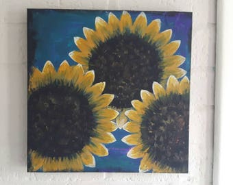 3 sunflowers repurposed  canvas one of a kind abstract