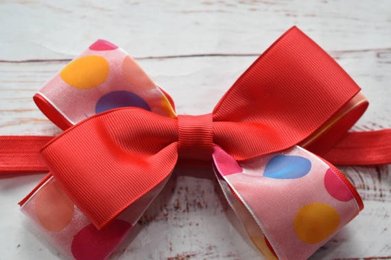 Bright Red Polka Dot Bow - Baby / Toddler / Girls / Kids Headband / Hairband / Hair bow / Barrette / Hairclip