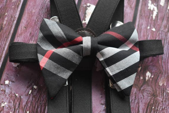 Festive black with red and grey tartan/plaid butterfly / poppy Bow Tie  for Baby, Toddlers and Boys (Kids Bow Ties) with Braces / Suspenders