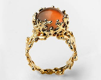 CORAL Baltic Amber Ring, Statement Ring, Gold Amber Ring, Gold Gemstone Ring, Natural Amber Ring, Unique Gold Ring, Gold Ring for Women