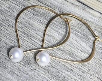 Pearl Earrings, Gold Hoop Ear Wires, Lotus Petal, Medium or Large, 24k Gold Vermeil, Bridal Earrings, Gifts for Her