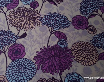 Flannel Fabric - Purple Florals - By the yard - 100% Cotton Flannel