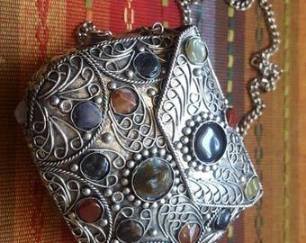 Vintage 1980's natural stone metal purse